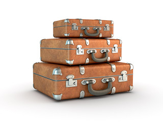 Stack of old suitcases. Clipping path included.