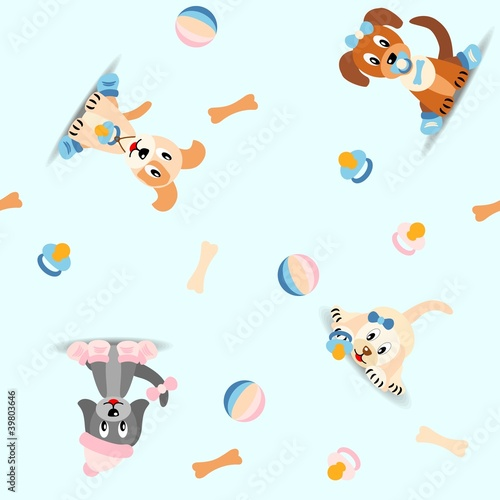 seamless pattern with cute puppies - vector