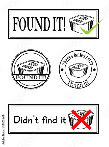 four stamps with geocaching theme