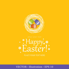 Easter egg, greeting card.  Vector