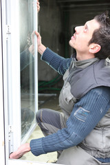Window-fitter at work