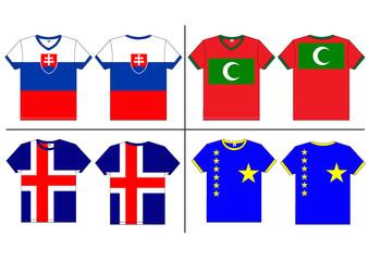 Flag T-shirt designs internationally. Vector template
