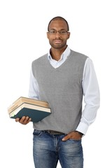 Smart university student with books