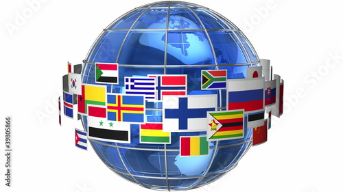 Rotating Earth globe with world flags