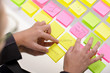 business woman surrounded by sticky notes business concepts
