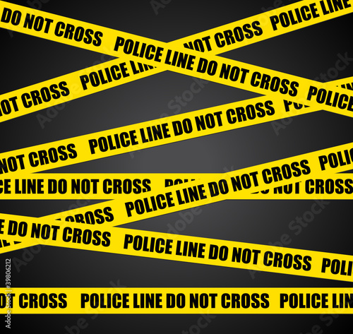 Police lines. Black crime scene background.