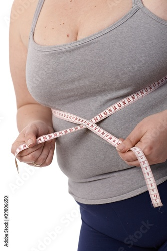Closeup fat woman measuring waistline
