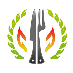 Restaurant logo fork knife fire stone wood pizzeria template