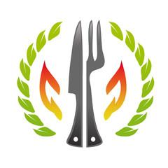 Restaurant logo fork knife fire stone wood pizzeria template