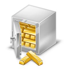 Opened safe with gold ingots