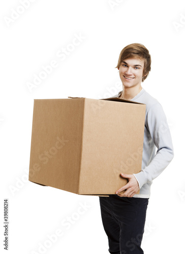 Man holding a card boxes