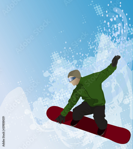 Snowboarder in the air on abstract background