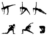 Yoga series black silhouettes on white( 6 positions)