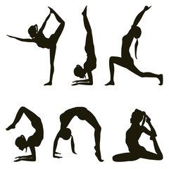 Yogi positions silhouettes on white
