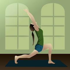 Young girl practicing yoga in room/Yogi2