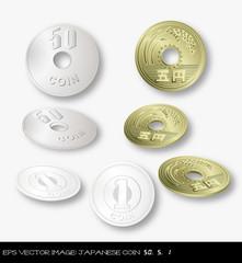 eps Vector image: Japanese coin  50yen 5yen 1yen