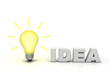 Idea light bulb with word idea