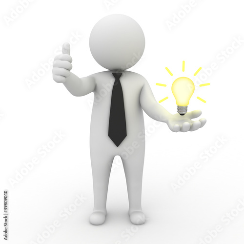 Businessman with idea lightbulb in hand