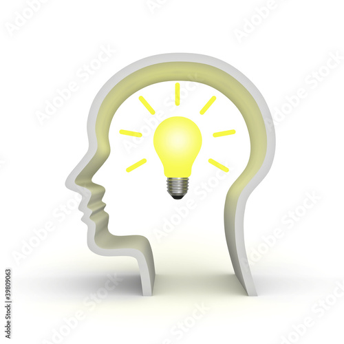 Idea light bulb in human head