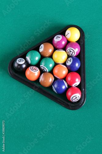 Staande foto billiard balls on table