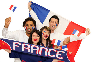 Cheerful men and women supporting France