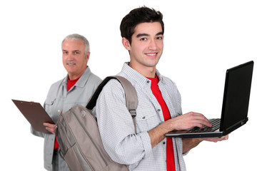 Trainee with a laptop