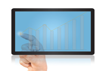 Hand pushing graph on tablet screen.