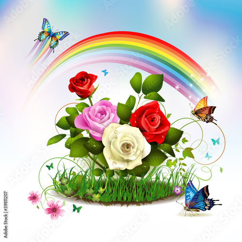 Roses on grass with butterflies and rainbow