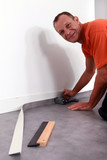 laying grey carpet
