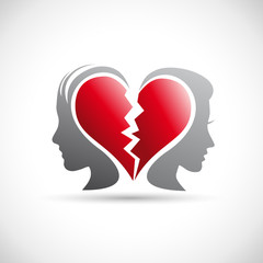 Divorce concept, end of a love # Vector
