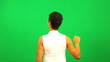 Ethnic Businesswoman Green Screen Touchscreen