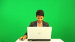 Ethnic Female Green Screen Laptop Computer