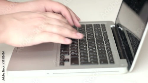 Typing on notebook