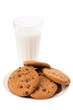 Cookies and milk isolated on white