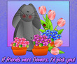 Bunny surrounded by spring flowers