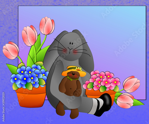Bunny holding bear surrounded by spring flowers