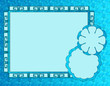 Teal frame border & shapes, perfect for photos, text or caption