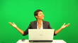 African American Female Pleased Green Screen Laptop Results