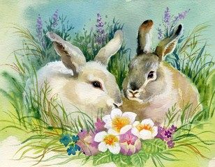 Watercolor Illustration: Rabbits