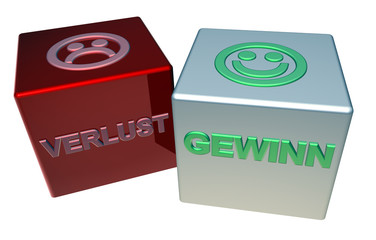 3D Doppelwürfel - VERLUST - GEWINN