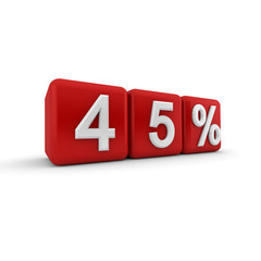 3D red blocks with fourty five percent text