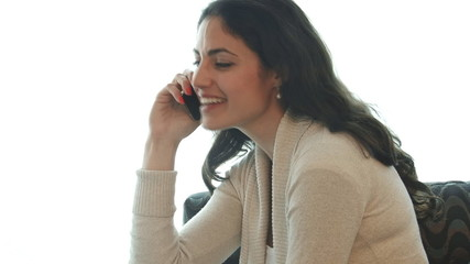 Happy business woman close up of talking on smart phone