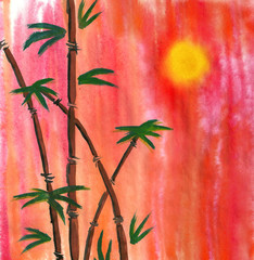 Watercolor Bamboo and Sun