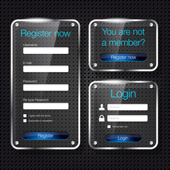 Login and register glass web forms - vector file