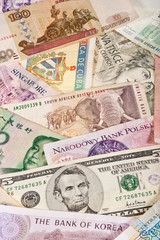 Assorted worldwide banknotes suitable for a background image