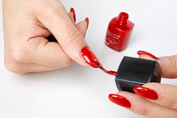 applying nail polish