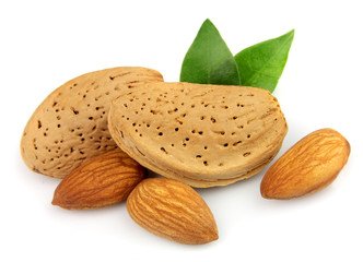 Almond nuts with leafs