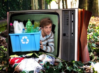 Man in television with recyclable plastic bottles