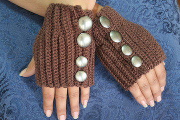 Womans Hands Wearing Steampunk Gloves