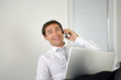 Businessman lauging on the phone